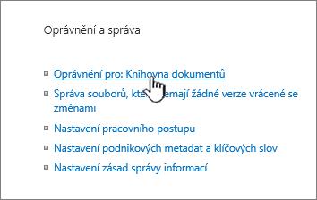 Oprávnění pro tento odkaz knihovny dokumentů