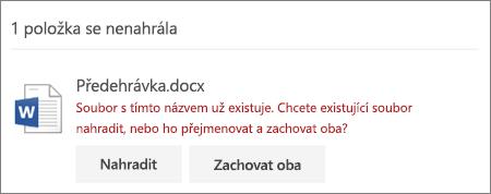 """Chyba """"Název souboru už existuje"""" z webového rozhraní OneDrivu"""