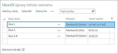 Zobrazení Datový list