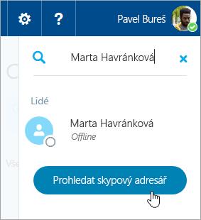 Snímek obrazovky s vyhledávacím polem v podokně Skypu