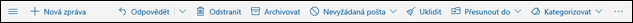 Panel nástrojů zpráv služby Outlook.com