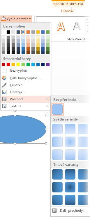 Galerie přechodů otevřená pomocí tlačítka Výplň obrazce na kartě Formát pod nadpisem Nástroje kreslení