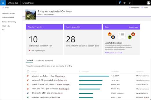 Použití stránka webu služby SharePoint