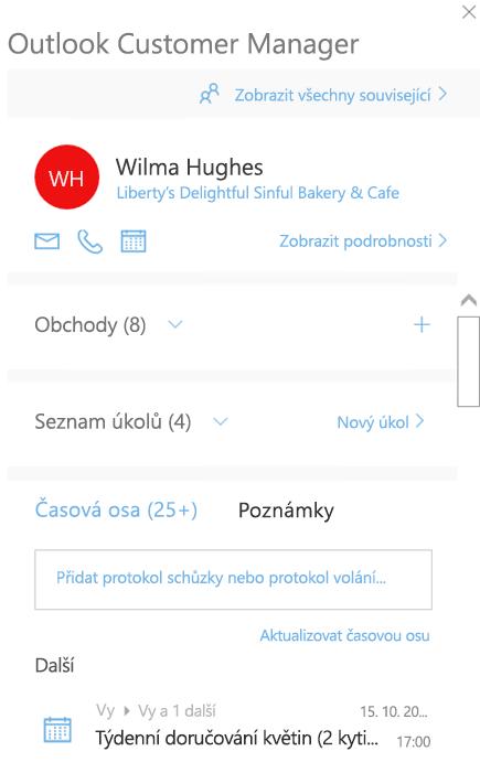 Úvodní obrazovka Outlook Customer Manageru