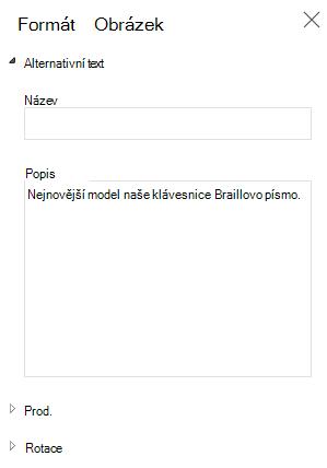 Podokno alternativní text obrázku ve Wordu Online