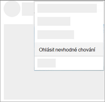 Snímek obrazovky s postupem vykazování zneužívání na Onedrivu