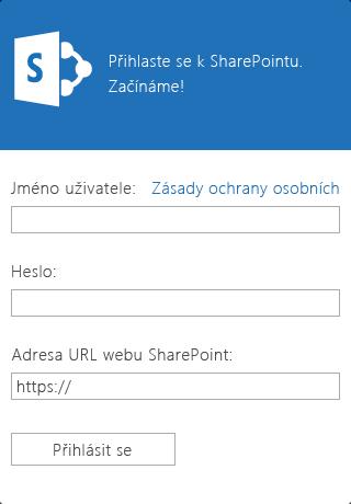 Snímek přihlašovací obrazovky SharePointu Newsfeed pro zařízení iOS