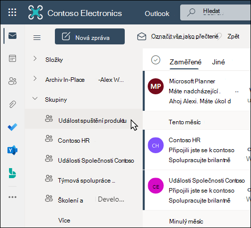 Office 365 skupiny v Outlooku