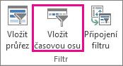 Tlačítko Vložit časovou osu na kartě Analýza