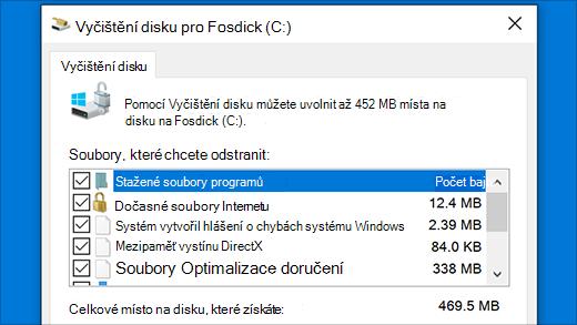 Spuštění nástroje Vyčištění disku