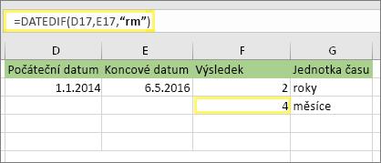"""= DATEDIF (D17, E17, """"YM"""") a výsledek: 4"""