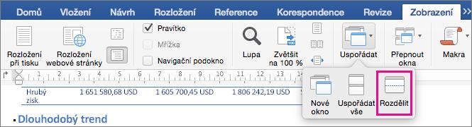 Kliknutím na rozdělit rozdělíte okno Wordu na dvě zobrazení stejného dokumentu.