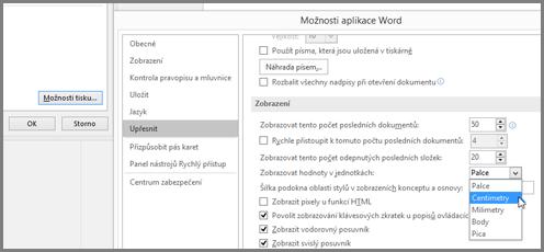 """V dialogovém okně Možnosti aplikace Word klikněte na Upřesnit, přejděte na Zobrazit možnosti, """"Zobrazit hodnoty v jednotkách"""""""
