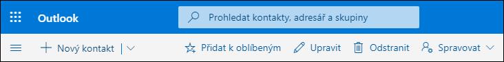 Snímek obrazovky ukazuje možnosti dostupné na panelu příkazů na stránce Lidé, jako jsou možnosti Nový kontakt, Upravit, Odstranit, Přidat k oblíbeným položkám a Spravovat.