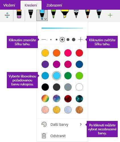 Rukopis volby barvu a šířku tahu ve Onenotu pro Windows 10