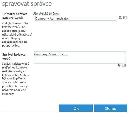 Dialogové okno Správce webu.