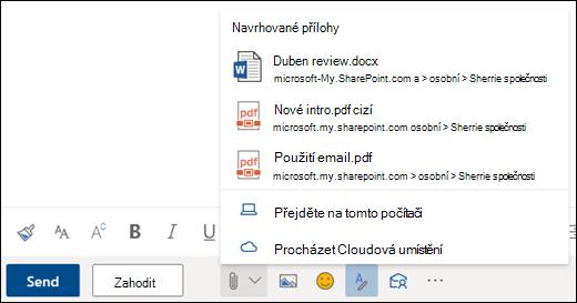 Připojení souborů s navrhovanými přílohami