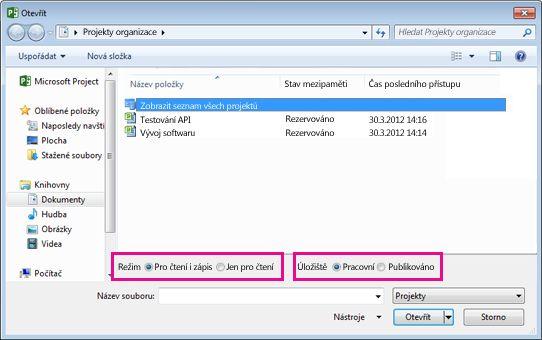 Dialogové okno Otevřít, které zobrazuje soubory Project Web Appu