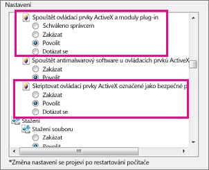 Povolení zavádění a spouštění ovládacích prvků ActiveX v Internet Exploreru