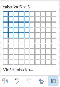 Mřížka tabulky v Outlooku na webu