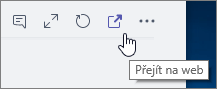Snímek obrazovky s ikonou Přejít na web v nabídce kanálu Teams