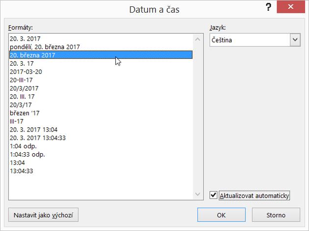 Výběr aktualizace automaticky zaškrtněte políčko