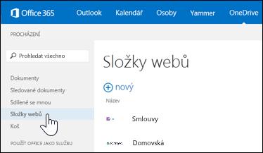 Pokud chcete vyhledat weby, které sledujete a které obsahují knihovny dokumentů, vyberte složky webů.