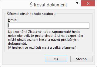 Dialogové okno Šifrovat dokument