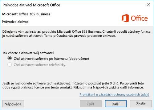 Zobrazuje Průvodce aktivací pro Office 365 Business