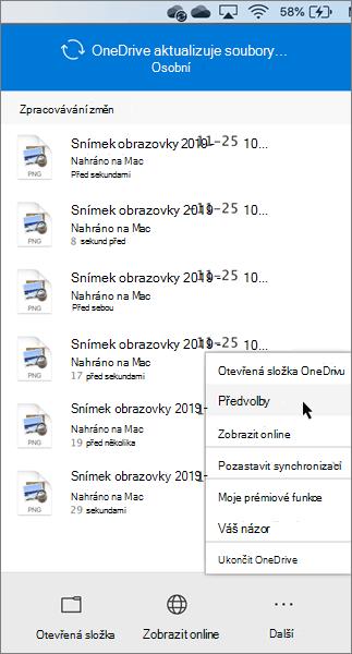 Snímek obrazovky s nastavením osobních předvoleb OneDrivu