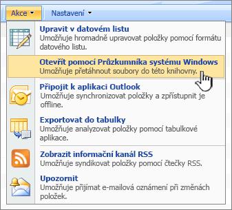 Otevřete v programu Průzkumník Windows nabídky Možnosti v části Akce