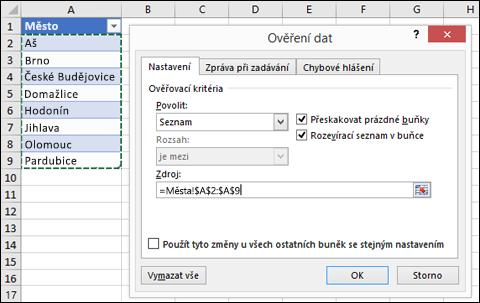Výběr zdroje ověření dat