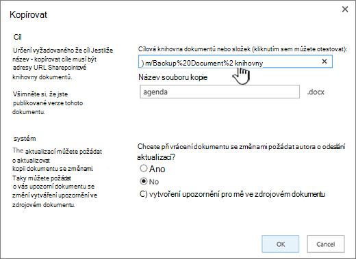 Dialogové okno Kopírovat s vybranou adresou URL.