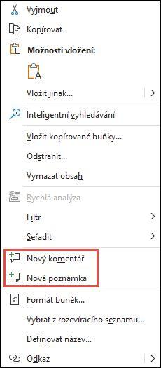 Obrázek místní nabídky v Excelu zobrazené po kliknutí pravým tlačítkem myši