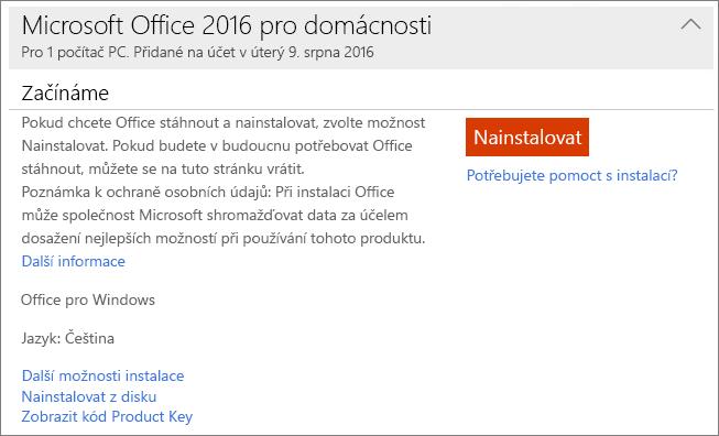 Zobrazuje odkaz Zobrazit kód Product Key pro jednorázově zakoupenou instalaci Office.