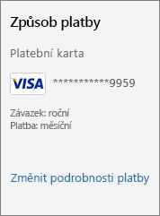 Snímek obrazovky zobrazující odkaz Změnit podrobnosti platby