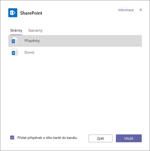 Stránek karet služby SharePoint