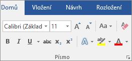 Ve Wordu na kartě Domů můžete ve skupině Písmo zvolit písmo a jeho velikost.