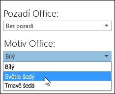 Výběr jiného motivu Office