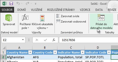 Přidání nových dat do datového modelu