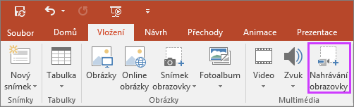 Zobrazuje tlačítko vložení záznamu obrazovky v PowerPointu 2016.