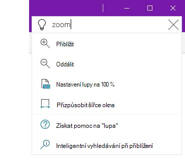 Snímek obrazovky se systémem nápovědy Řekněte mi ve OneNotu