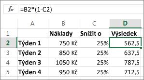 Příklad ukazující snížení částky o určité procento