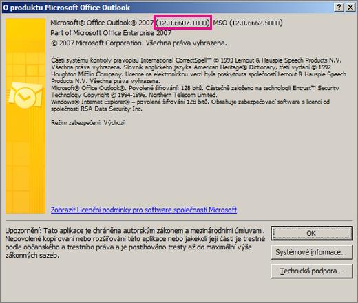 Snímek obrazovky, který ukazuje, kde se v dialogovém okně O aplikaci Microsoft Office Outlook zobrazí číslo verze Outlooku 2007.