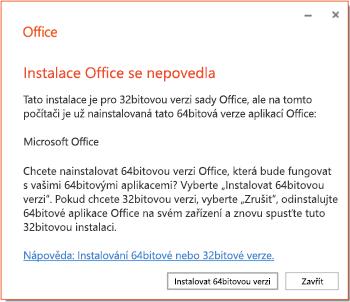 Chybová zpráva při instalaci informující o potížích s kompatibilitou 32bitové a 64bitové verze