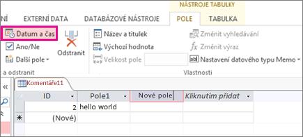 Přidání pole Datum a čas v zobrazení datového listu