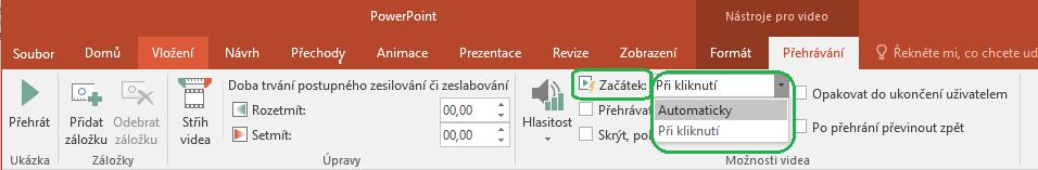 U videí vložených z počítače si můžete vybrat, jestli se mají začít přehrávat automaticky, nebo po kliknutí.