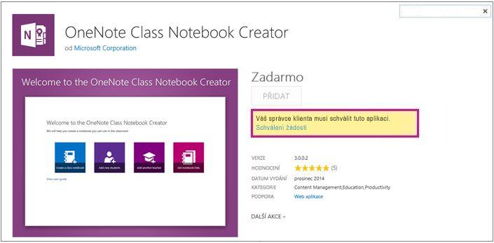 Snímek obrazovky se stránkou podrobností o aplikaci a zvýrazněným odkazem na schválení žádosti