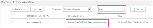 """Snímek obrazovky s oddílem stránky Aktivní uživatelé a hledaným výrazem """"allie"""" zadaným do vyhledávacího pole vedle možnosti Filtry, která je nastavena na všechny uživatele. Dole je celé zobrazované jméno a uživatelské jméno"""