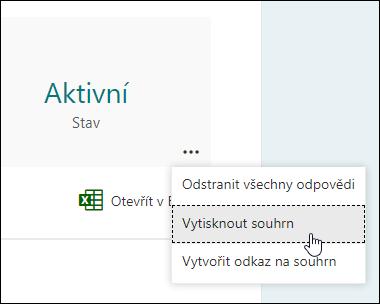 Možnost vytisknout souhrn v Microsoft Forms